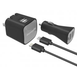 SET nabíječek DIGIPOWER DUAL USB 2,4A MIC.A MFI-BL