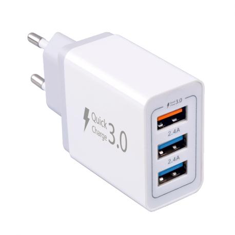SÍŤOVÁ NABÍJEČKA FAST CHARGER 3X USB (QC 7.8A) - WHITE