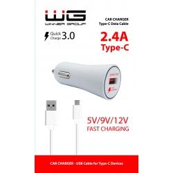 AUTONABÍJEČKA FAST CHARGING USB (2,4A) + KABEL TYPE C - BÍLÁ