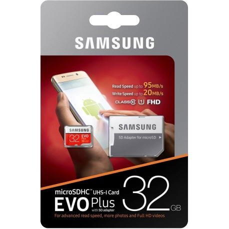 PAMĚŤOVÁ KARTA SAMSUNG MICRO SDHC KARTA 32GB EVO PLUS + SD ADAPTÉR
