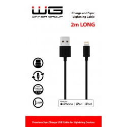 DATOVÝ KABEL USB LIGHTNING MFI 2M - BLACK
