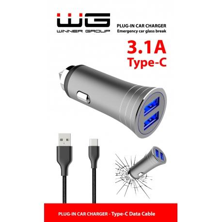 AUTONABÍJEČKA 2X USB (3.1A) + DATOVÝ KABEL TYPE C - SILVER