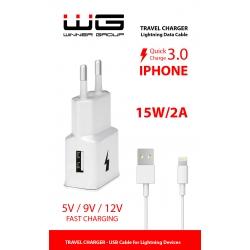 WG SÍŤOVÁ NABÍJEČKA USB(2,0A)+DAT.KABEL MFI WHITE