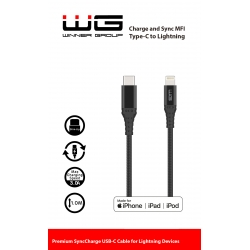 DATOVÝ KABEL TYPE C TO LIGHTNING MFI 1M - NYLON - BLACK