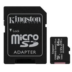 PAMĚŤOVÁ KARTA 64GB MICROSDXC KINGSTON CL10 100MB/S + ADAPTER